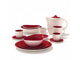 Ceramic tableware dinner set 3d model