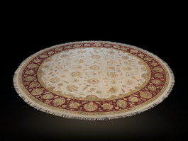 Round Ivory Rome Area Rug 3d model