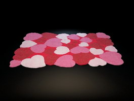 Pink kids flower rug 3d model