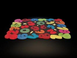 Cartoon kids rug 3d model