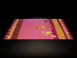 Cartoon kids room carpet 3d model
