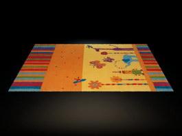 Handmade cartoon children rug 3d model