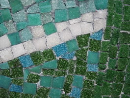 Natural stone mosaic outdoor floor texture