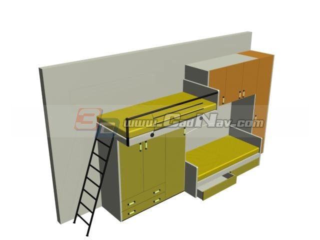 School Furniture Dormitory Beds And Wardrobes 3d Model