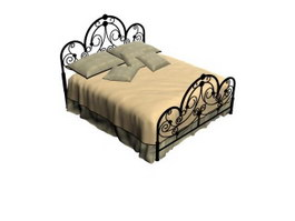 Antique queen size wrought iron bed 3d model