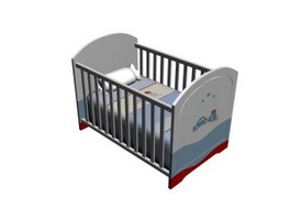 Europe baby crib 3d model
