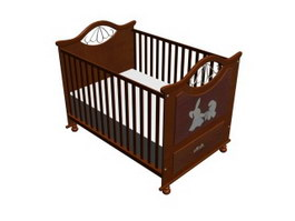 Wooden baby crib with drawers 3d model