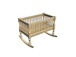 Baby cot wooden cradle 3d model