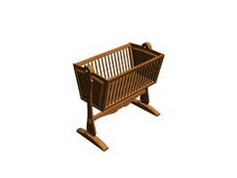 Wooden baby crib cradle 3d model
