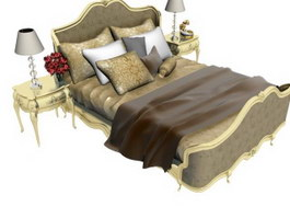 European Classic bed with bedside tables 3d model