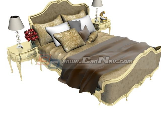 European Classic Bed With Bedside Tables 3d Model 3dmax