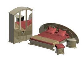 Modern Wooden Bedroom Set 3d model