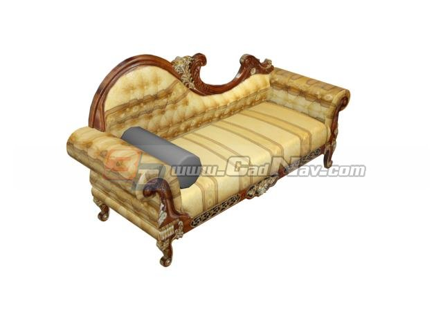 Antique furniture wood carving chaise lounge 3d model for Antique wooden chaise lounge
