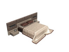 King size hotel bed with Bedside tables 3d model