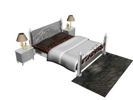 Antique wrought iron bed with bedside cabinet and floor rug 3d model