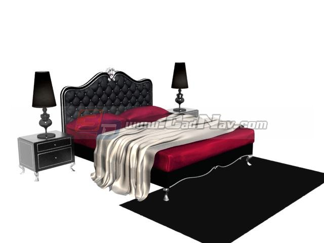 French Classic Carved Bed With Nightstands 3d Model 3DMax