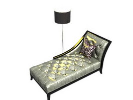 Living Room Chaise Lounge and floor lamp 3d model