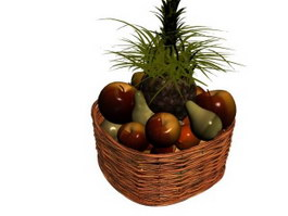A basket of fruit 3d model
