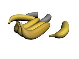 Five bananas 3d model