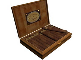 Cigars and wooden cigar box 3d model