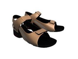 Woman Leather Sandal 3d model