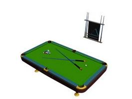 Billiard table and billiard cue set 3d model