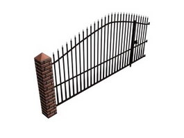 Iron entrance gate door 3d model