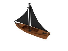 Wooden Sailing Boat 3d model
