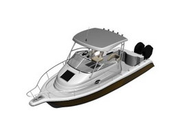 Outboard motor boat 3d preview