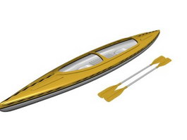 Racing Boat scull rowing boat 3d model