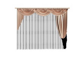 Velvet curtain with valance 3d model
