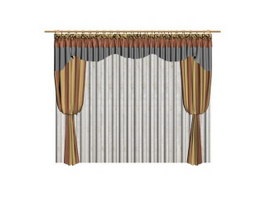 Luxious curtains for hotel 3d model