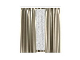 Curtain on holder 3d model for interior 3d visualization.