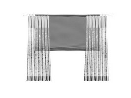 Sheer curtain and roller shade 3d model