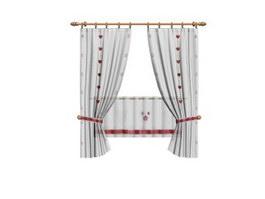 Beautiful living room curtain shade 3d model