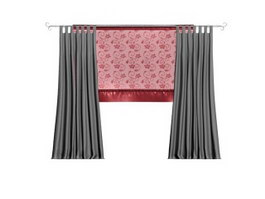 Embroidery lace curtain 3d model