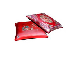 Chinese style throw pillow 3d model