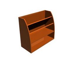 Office Wooden Magazine Rack 3d model