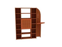 Wooden display rack storage wall 3d model