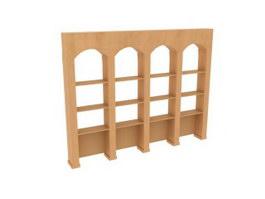 Library Furniture Wooden Bookshelf 3d model