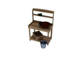 Bathroom wood washstand 3d model