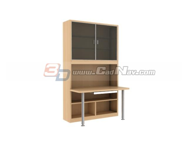 office filing cabinet with computer desk 3d model 3dmax files free