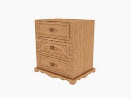 Wooden drawer cabinet bedside cabinet 3d model