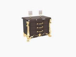 Home Decoration Antique Side Cabinet 3d model