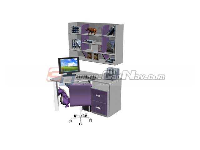 home office computer desk and bookshelf 3d model 3dmax files free
