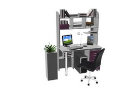 Home Office Desk With Bookshelf 3d model