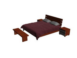 Wood bed and bedside tables 3d model