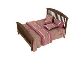 Bedroom Furniture Wooden Bed 3d model