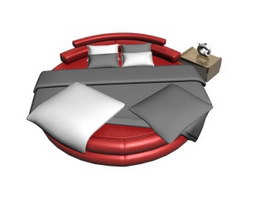 Leather Round bed 3d model