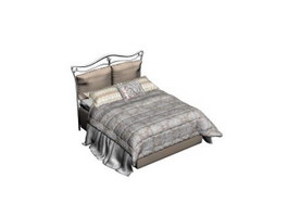 Iron bed and Bedding Set 3d model